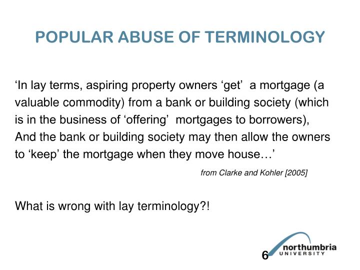 POPULAR ABUSE OF TERMINOLOGY