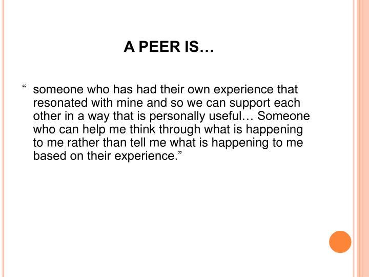 A PEER IS…