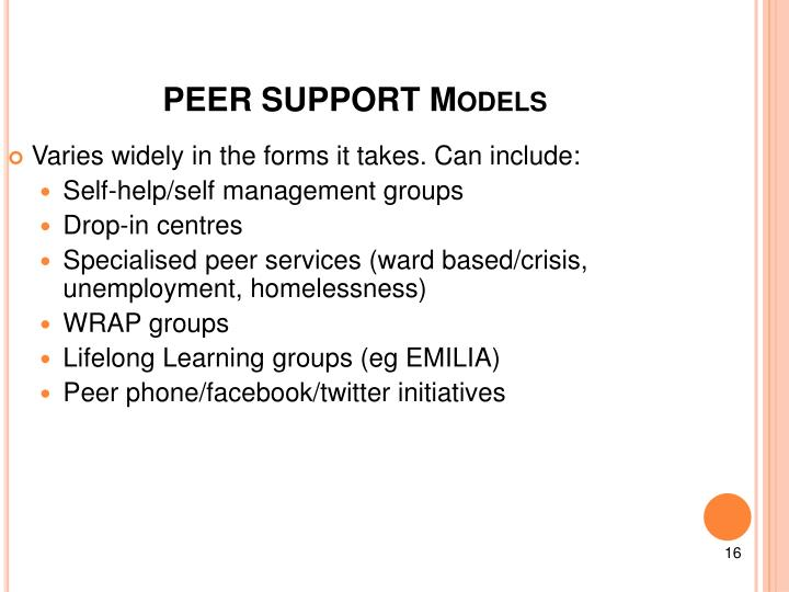 PEER SUPPORT Models