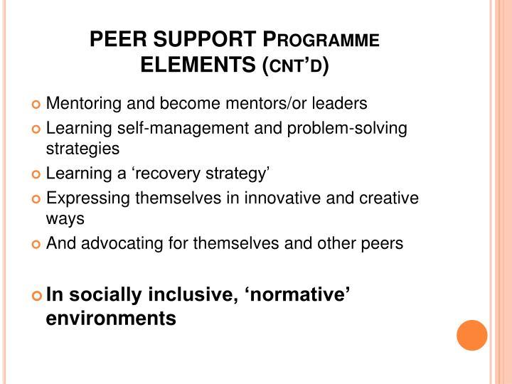 PEER SUPPORT Programme ELEMENTS (