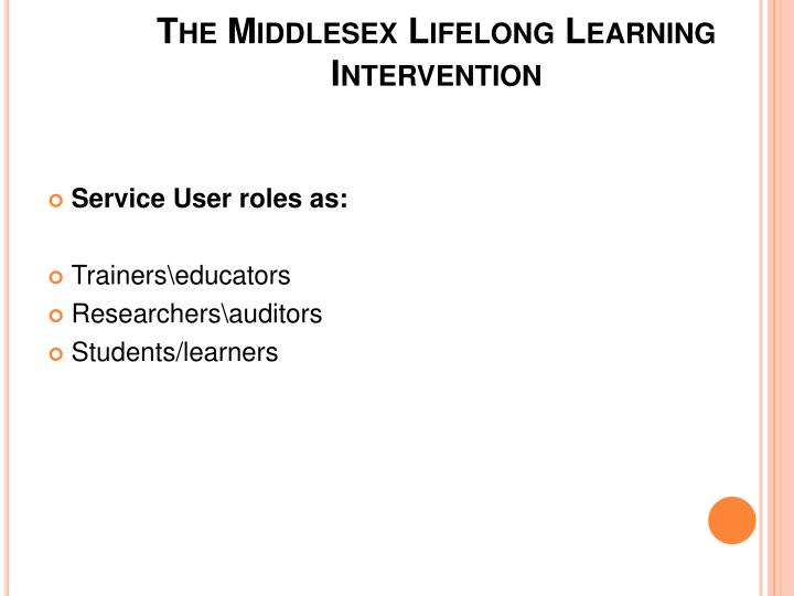 The Middlesex Lifelong Learning Intervention