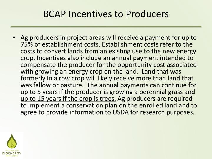 Ag producers in project areas will receive a payment for up to 75% of establishment costs. Establishment costs refer to the costs to convert lands from an existing use to the new energy crop. Incentives also include an annual payment intended to compensate the producer for the opportunity cost associated with growing an energy crop on the land.  Land that was formerly in a row crop will likely receive more than land that was fallow or pasture.