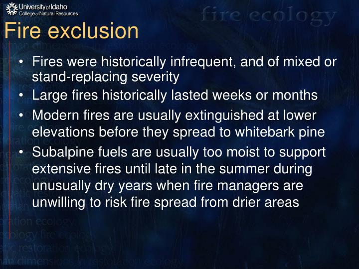 Fire exclusion