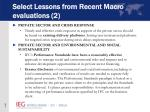 select lessons from recent macro evaluations 2
