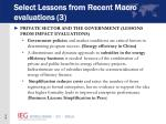select lessons from recent macro evaluations 3