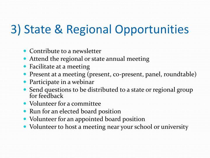 3) State & Regional Opportunities