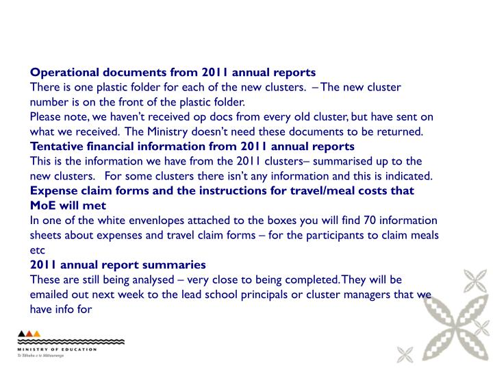 Operational documents from 2011 annual reports