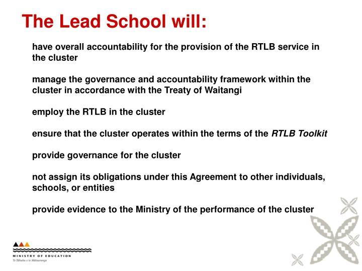The Lead School will:
