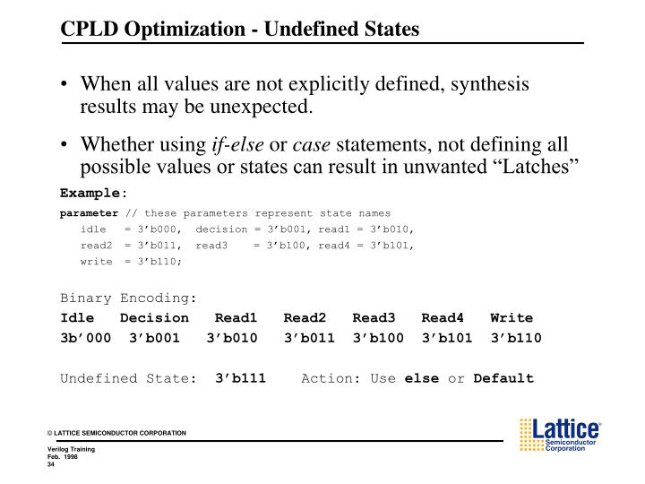 CPLD Optimization - Undefined States
