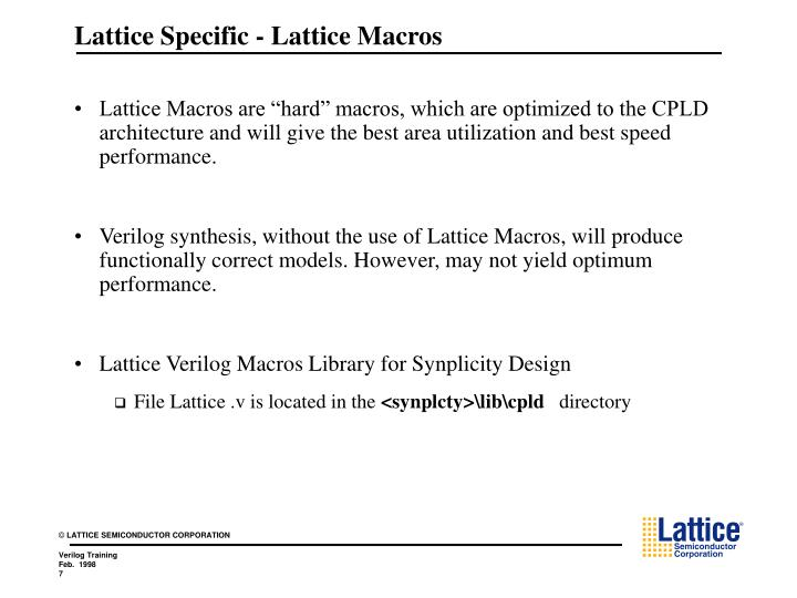 Lattice Specific - Lattice Macros