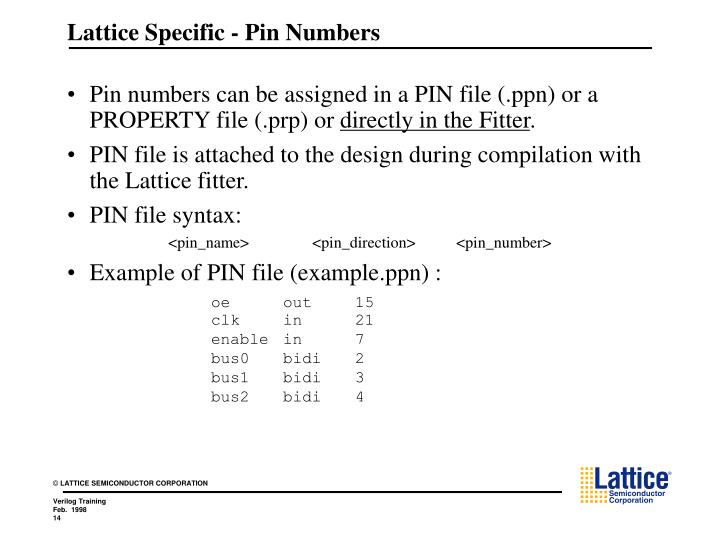 Lattice Specific - Pin Numbers