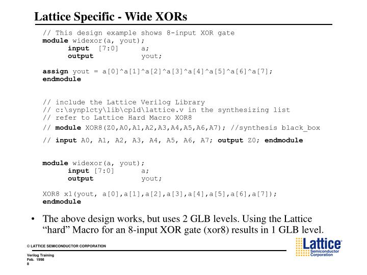 Lattice Specific - Wide XORs