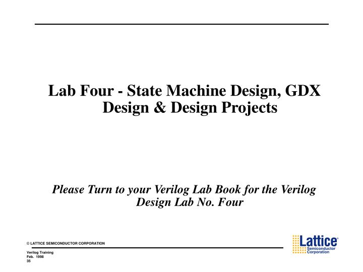 Lab Four - State Machine Design, GDX Design & Design Projects