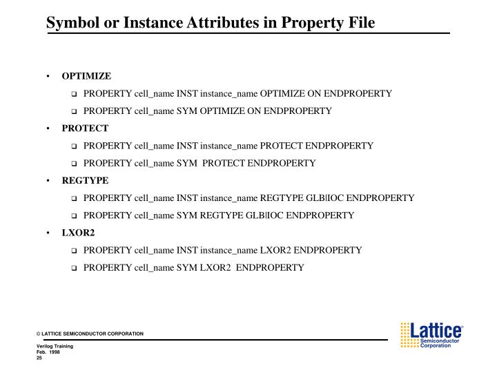 Symbol or Instance Attributes in Property File