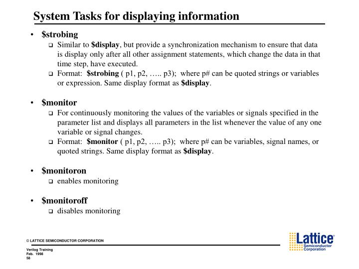 System Tasks for displaying information
