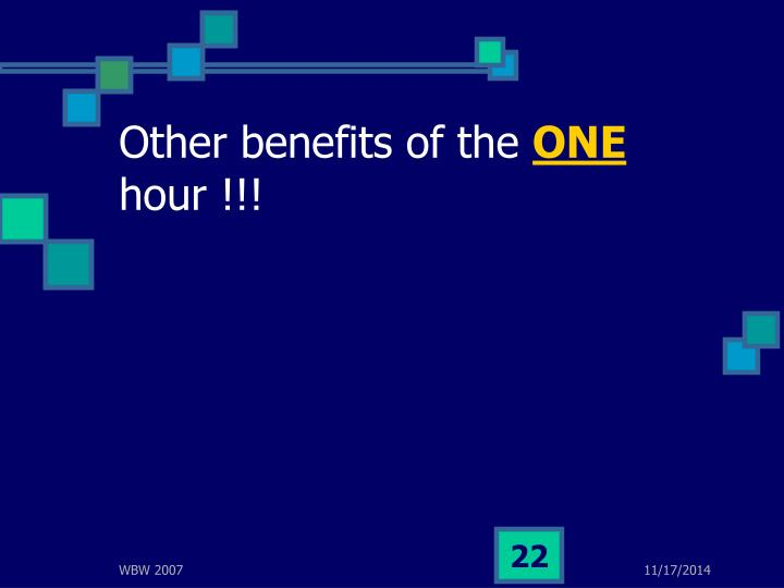 Other benefits of the