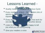 lessons learned readers