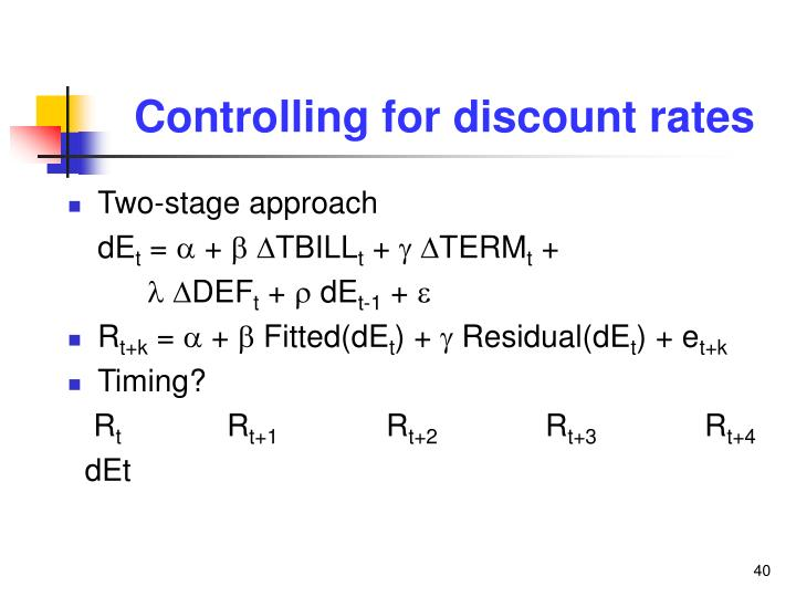 Controlling for discount rates
