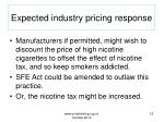 expected industry pricing response