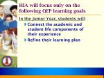 hia will focus only on the following qep learning goals