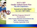 wcu s qep quality enhancement plan the hia experience