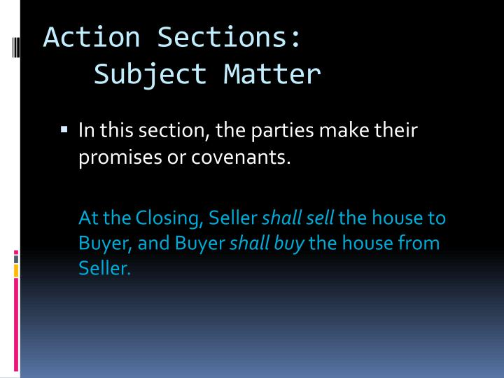 Action Sections: