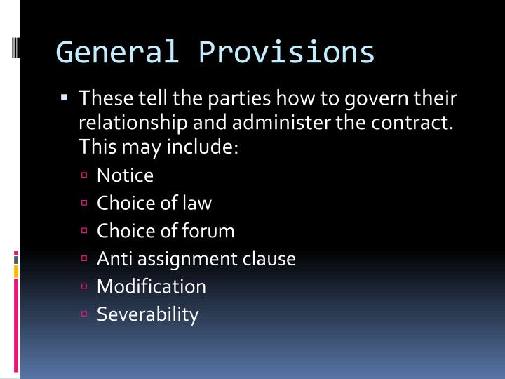 General Provisions