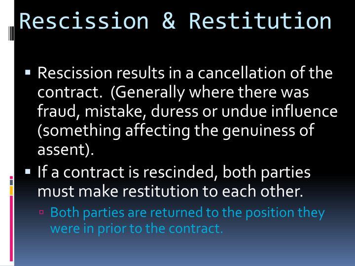 Rescission & Restitution