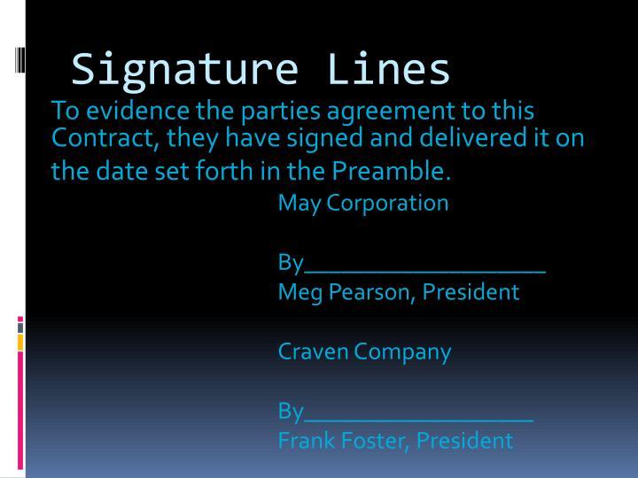 Signature Lines