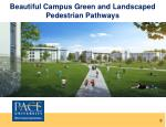 beautiful campus green and landscaped pedestrian pathways