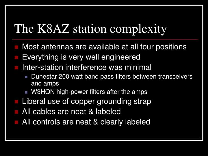 The K8AZ station complexity