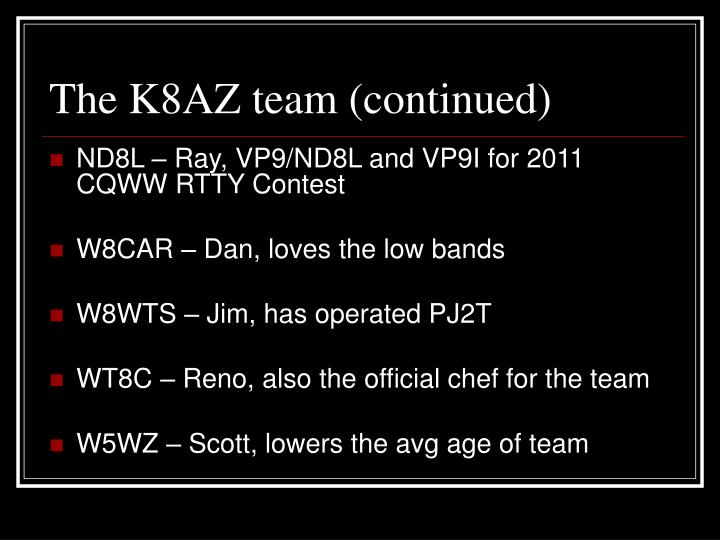 The K8AZ team (continued)