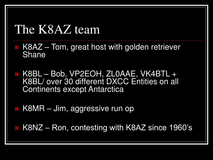 The K8AZ team