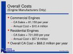 overall costs engine manufacturers only
