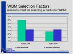 wbm selection factors reasons cited for selecting a particular wbm