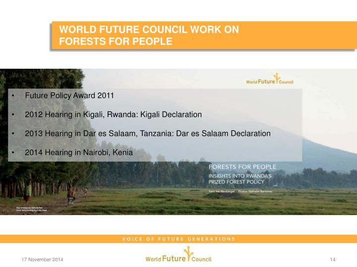 WORLD FUTURE COUNCIL WORK ON