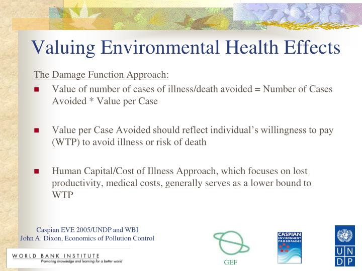 Valuing Environmental Health Effects