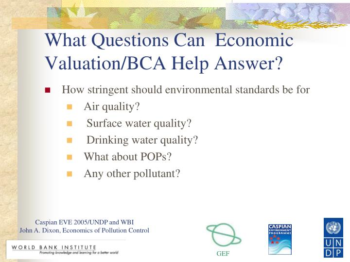 What questions can economic valuation bca help answer