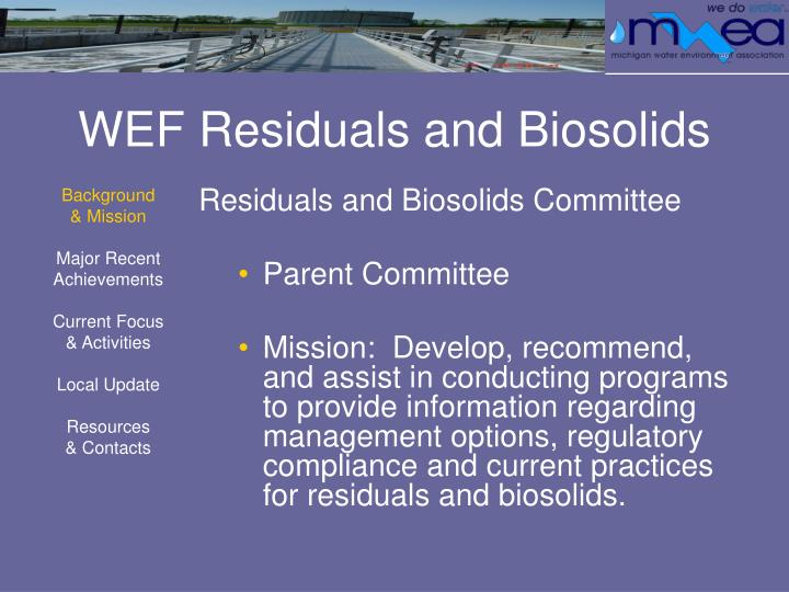 Wef residuals and biosolids