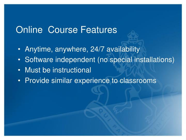 Online  Course Features