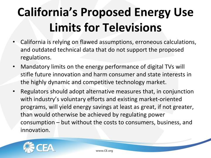 California's Proposed Energy Use Limits for Televisions