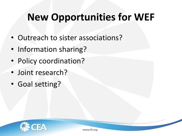 New Opportunities for WEF