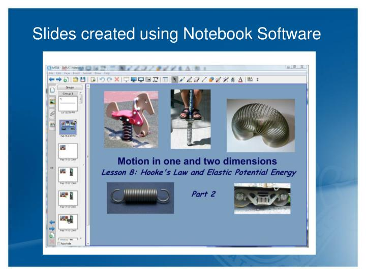 Slides created using Notebook Software