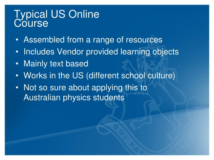 Typical US Online Course