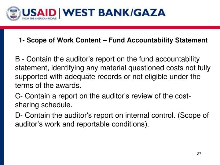 1- Scope of Work Content – Fund Accountability Statement