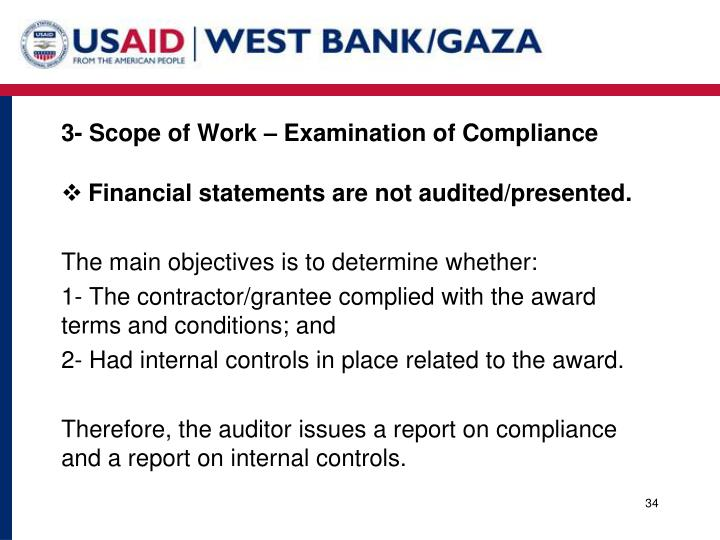 3- Scope of Work – Examination of Compliance
