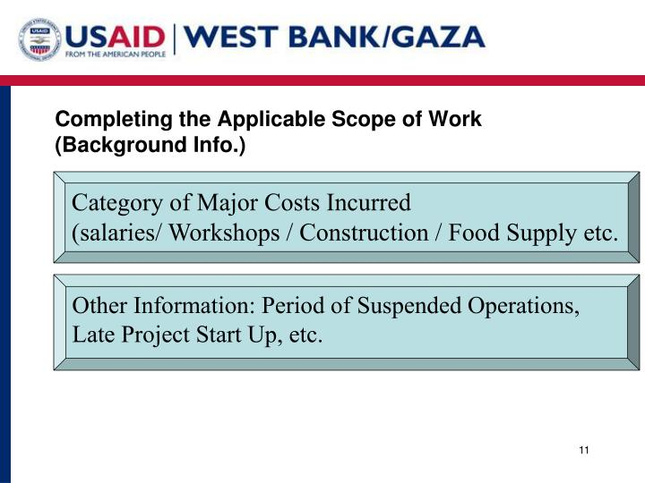 Completing the Applicable Scope of Work (Background Info.)