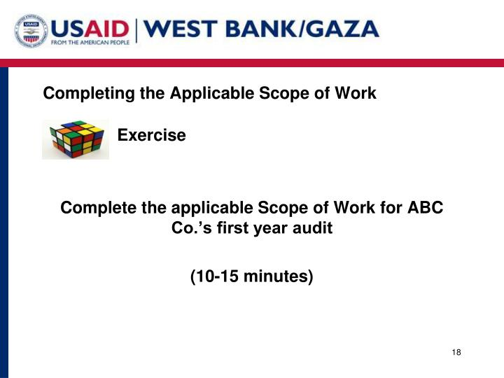 Completing the Applicable Scope of Work