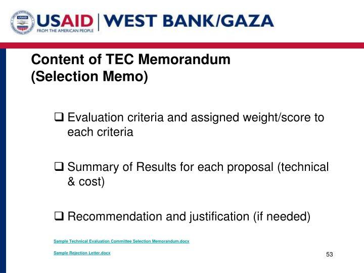 Content of TEC Memorandum