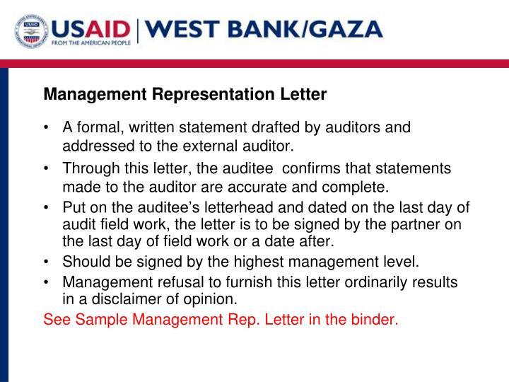 Management Representation Letter